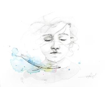 Thalassophile watercolor portrait akris painting