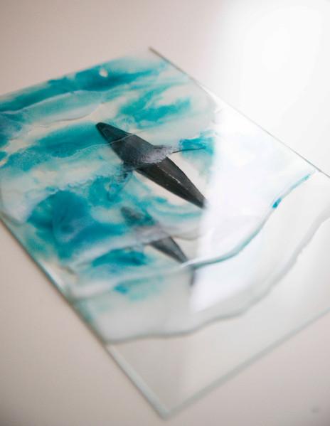 Humpack whale & resin sea