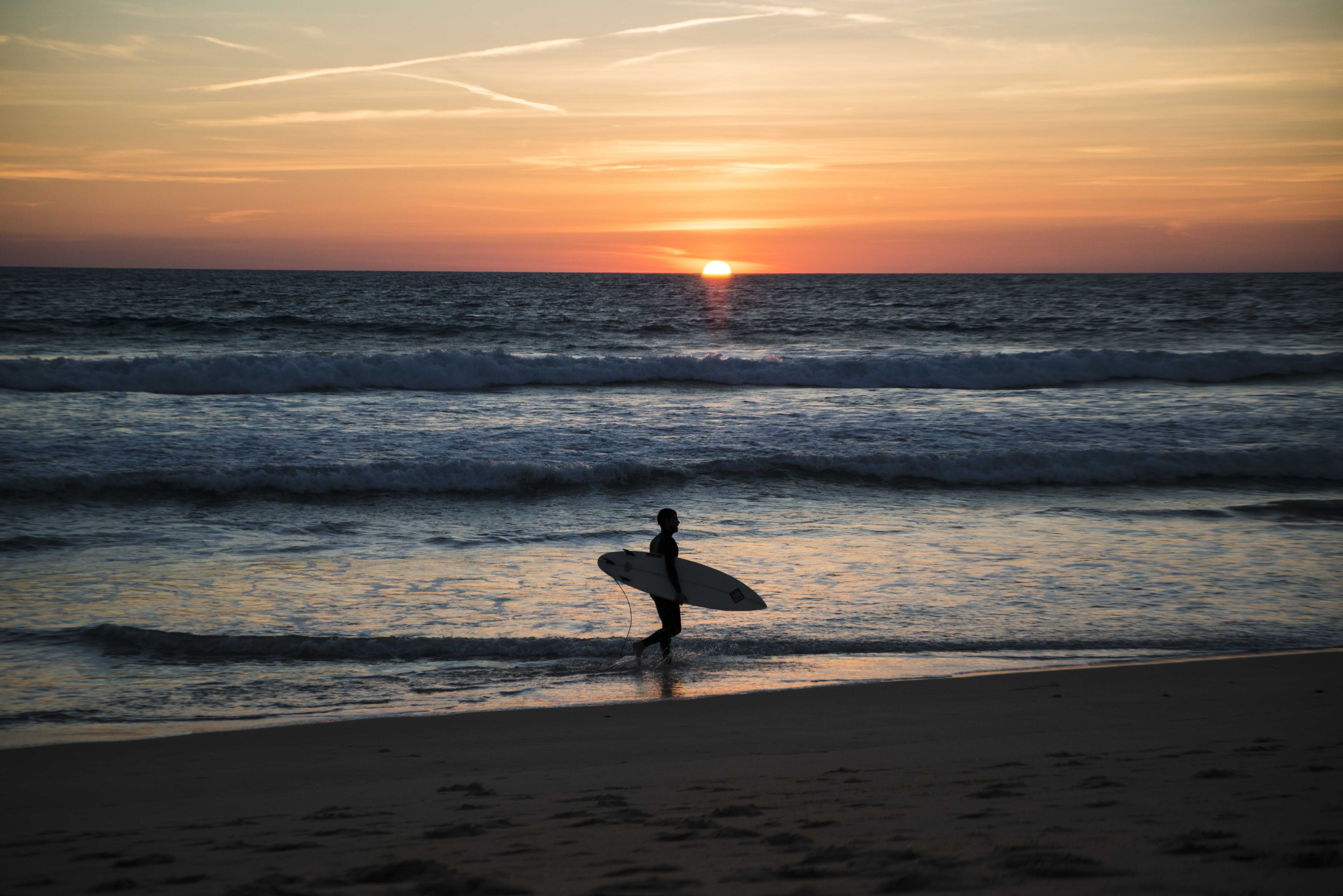 Surfing during the sunset