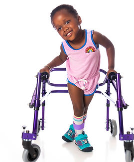 Young girl with cerebral palsy on white