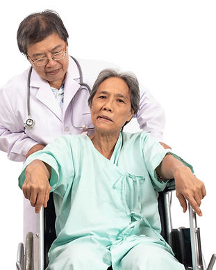 Asian elderly woman with a paralysis, st