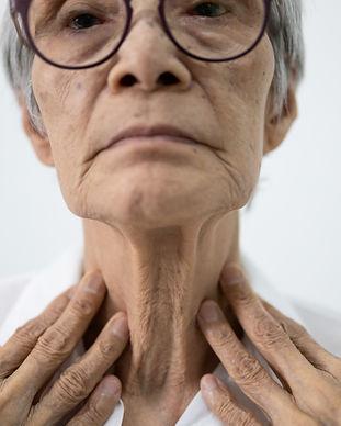 Close up of female neck,asian senior wom