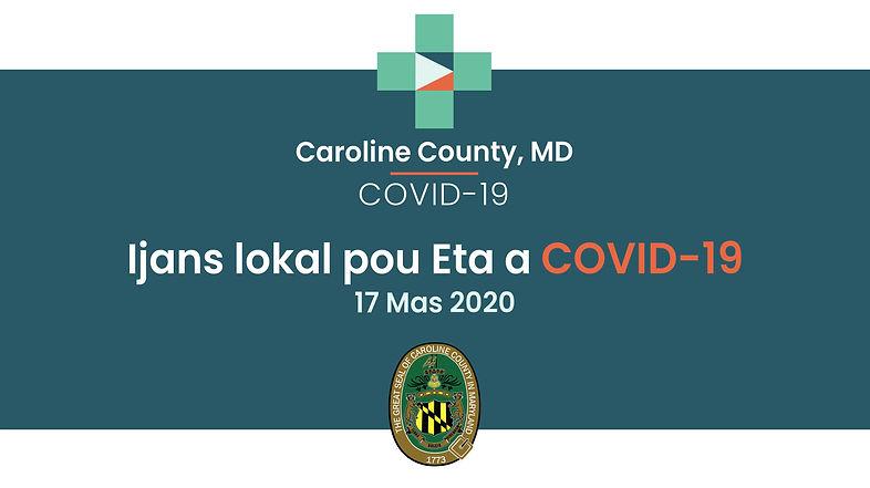 VIDEO Kreyòl:Caroline County Rapòte Premye Ka COVID-19la