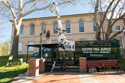 Eastern Tree Service truck with bucket lift at Dorchester County Courthouse