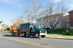 Eastern Tree Service truck and equipment at Dorchester County Courthouse for tree trimming job