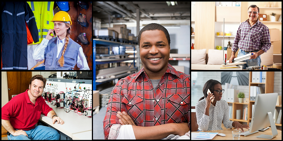 This collge of images features happy folks who have received free job training through the American Job Centers Upper Shore Networ. Pictures include a young woman in construction hat, man in front of an IT panel, man in a warehouse, man doing carpentry work, and womn in an office in front of a computer.