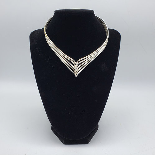 Vintage Artisan Mexican Sterling Silver Choker Necklace