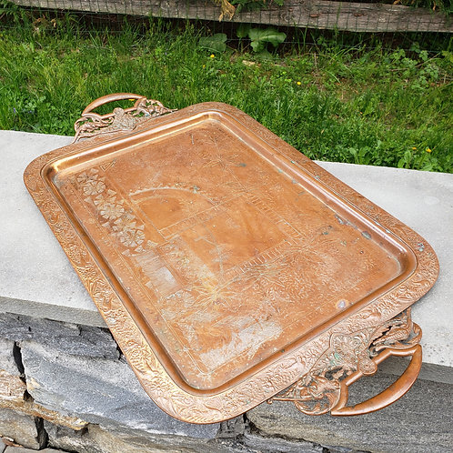 Stunning and Ornate Copper Tray with Animal Handles