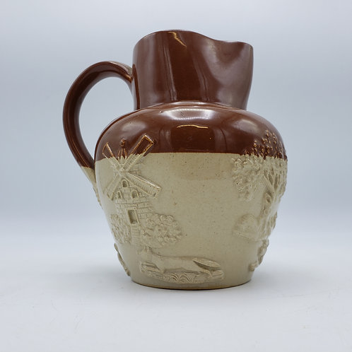Antique Lambeth English Brown and Cream Pitcher with Hunting Scene