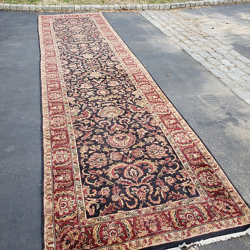 100% Wool Hand Knotted Long Maroon & Black Runner, 4' x 7'