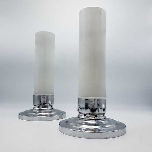 Pair of Vintage Deco Chrome & Glass F.T. Haffner & Co. Chimney Candle Light