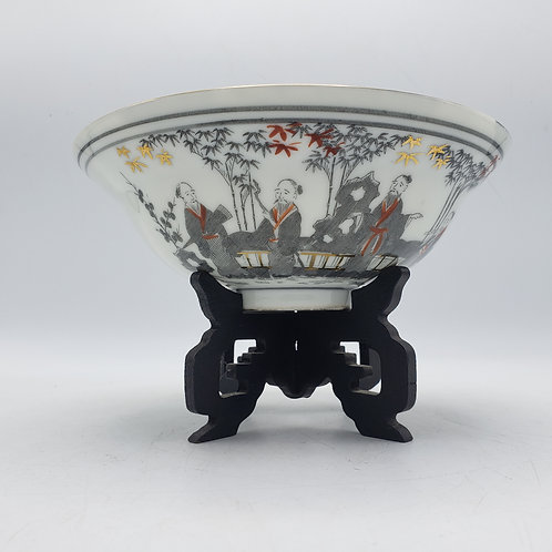 Vintage Gray Chinese Asian Porcelain Bowl on Stand