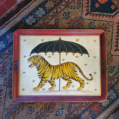 Ford Ruthling Hand Painted Tole Tray Tiger & Umbrella The Story of Little Babaji