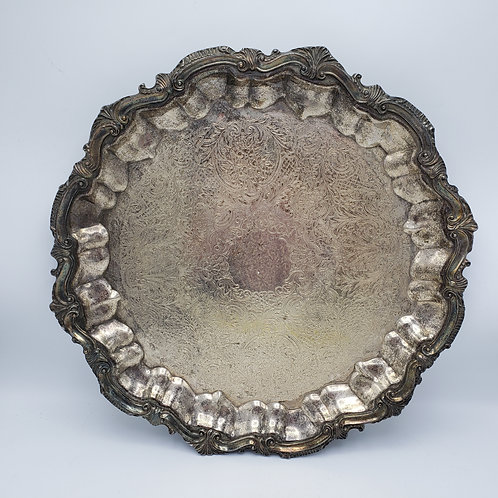 Vintage Round Silverplate Serving Tray