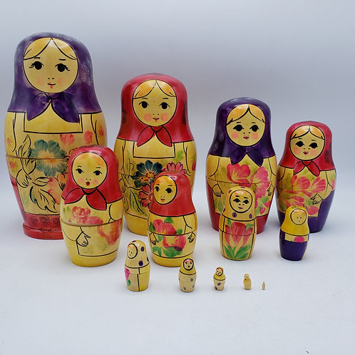 Set of 13 Russian Nesting Dolls