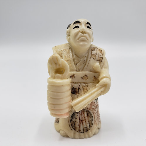 Vintage Faux Ivory (Resin) Carved Netsuke Man with Lantern