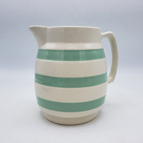 Green & White Porcelain Pitcher by Staffordshire