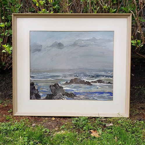 "Ayrshire Culzean ""Stormy Sea"" Rendition Seascape with Rocks & Clouds"