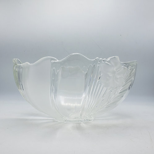 Decorator Art Glass Bowl with Frosted Flower Accents