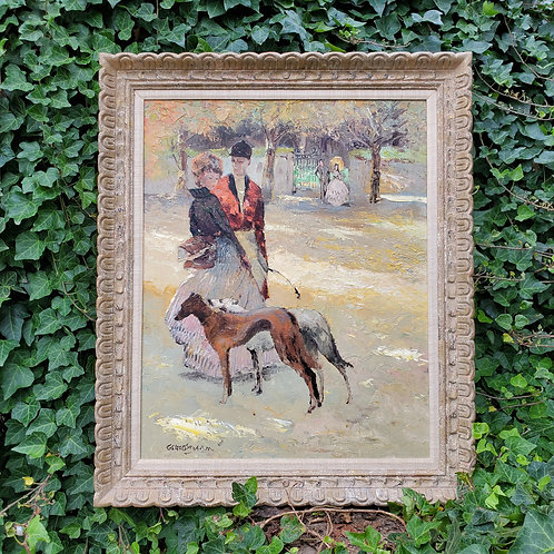 Vintage Oil Painting of Equestrian Hunter with Woman and Dogs