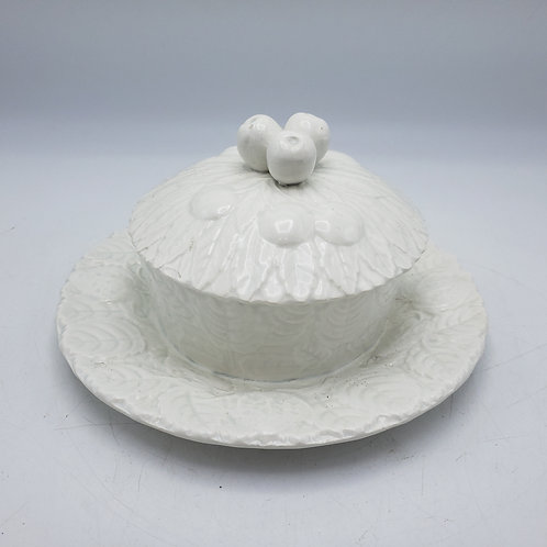 Vintage White Covered Porcelain Dish by Parry & Vieille Limoges with Fruit Finia