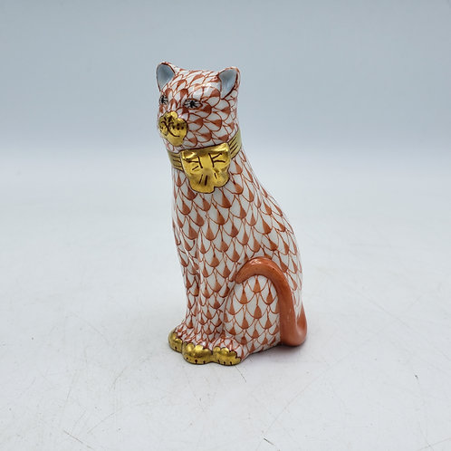 Rust Colored Fishnet Herend Cat Figure with Gold Bow Tie