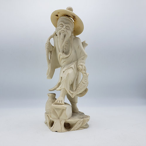 Resin Figure of an Asian Man with Hat