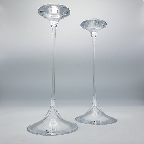 "Pair of 9"" Single Light Fanfare Candlesticks by Kosta Boda"
