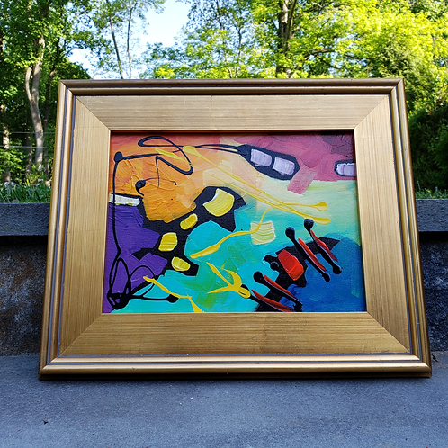 Original Modern Abstract Artwork in Plein Art Style Gold Frame ~ Multi Colored
