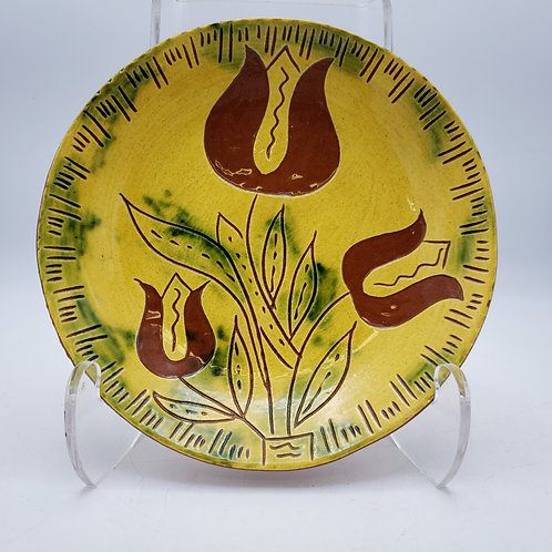 Vintage Breininger Pottery Robesonia Redware Plate with Flowers