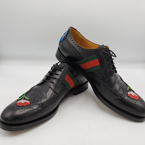 Gucci Men's Strand Floral  Embroidered  Lace Up Black Shoes