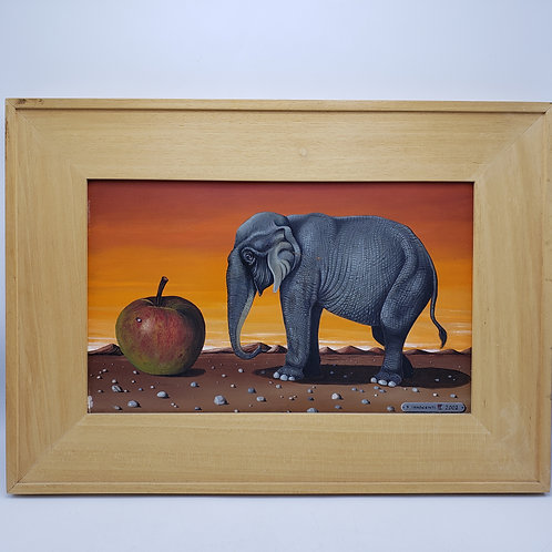 Signed Painting on Board of Elephant & Apple in Light Wood Colored Frame