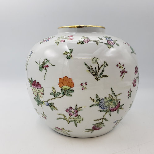Vintage Asian Porcelain Vase with Flowers and Butterflies