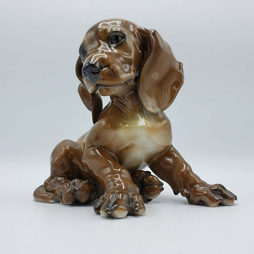 Rosenthal 1247 Porcelain Puppy Dog Sculpture Large Size Dachshund Puppy Karner