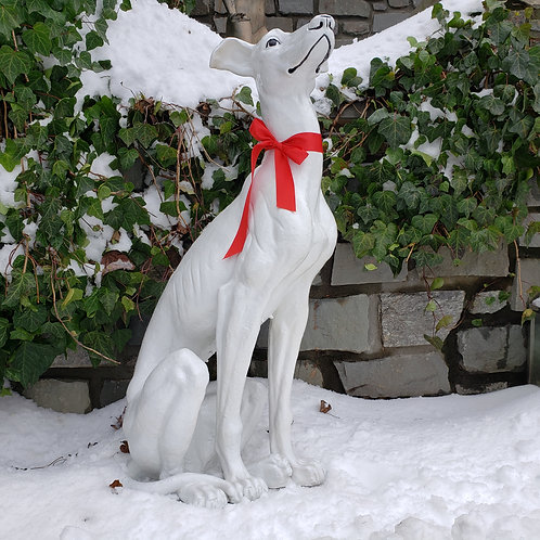 Large White Resin Whippet Dog Statue