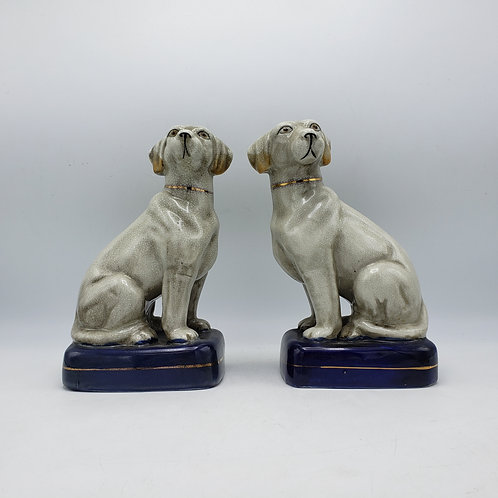 Pair of Decorator Staffordshire Porcelain Dogs