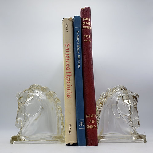 Pair of Glass Horse Bookends