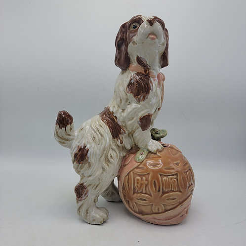 Decorator Staffordshire Style Dog on Ball Porcelain Sculpture