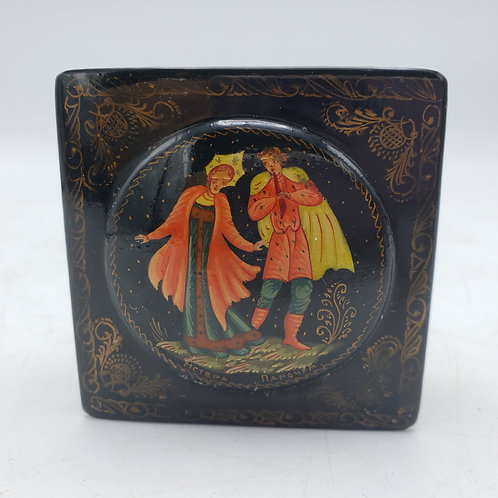 Small Black Lacquered Russian Signed Hinged Box of Couple