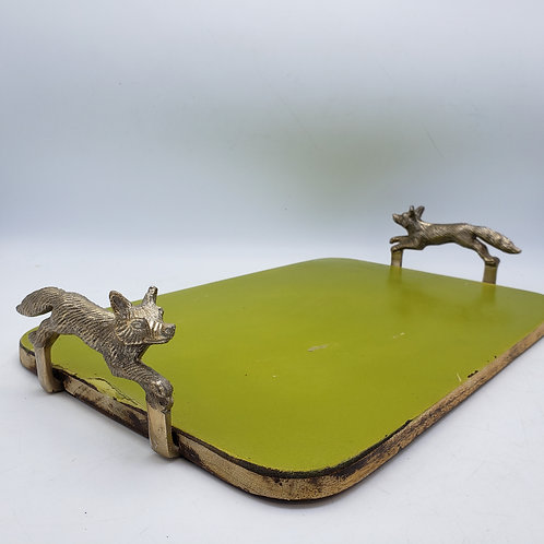 Green Serving Tray with Fox Handles