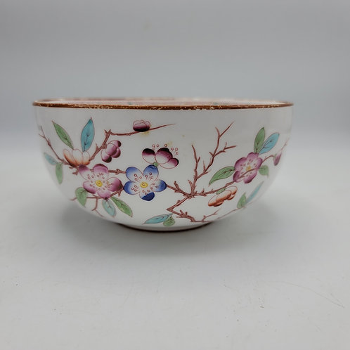 Vintage Hand Painted Sarreguemines Minton Bowl with Flowers