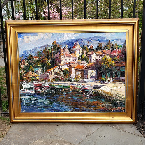 Large Signed Artwork of City by Water with Boats