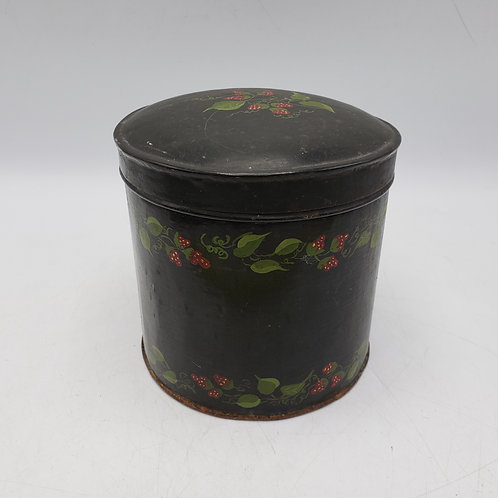 Antique Black Toleware Strawberry Canister with Hinged Lid