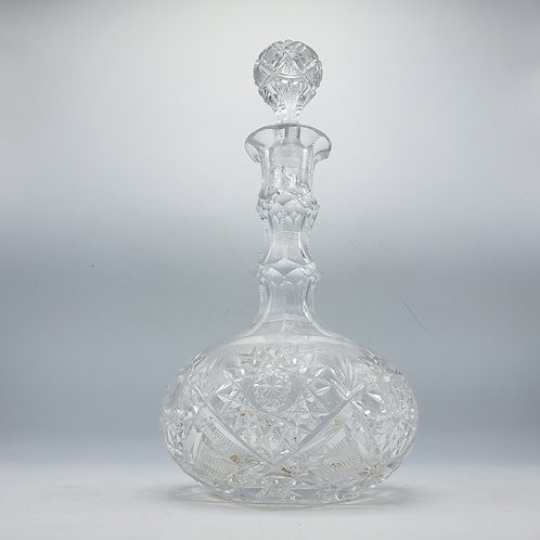 Vintage American Brilliant Cut Glass Decanter with Stopper