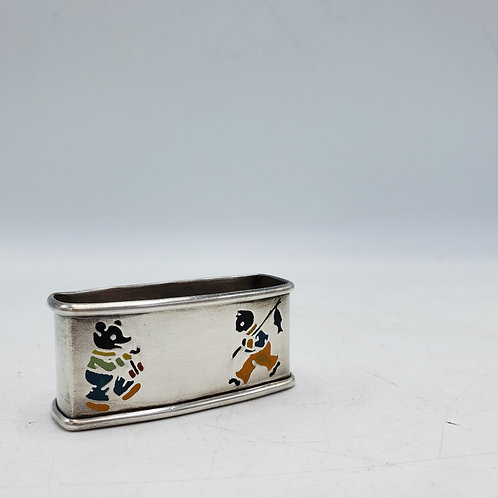 Vintage Sterling Silver Napkin Ring with Enamel Panda and Cat