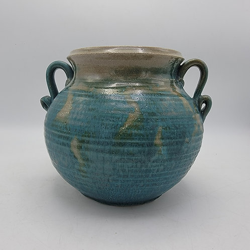 Green Signed Art Pottery Jug with Handles