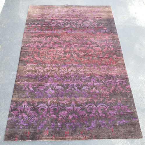 "Large Purple & Red Floral Print Gabbeh  Rug, 71"" x 106"""