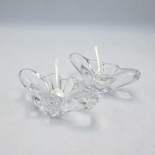 Pair of Sevres Crystal Open Salts with MOP Spoons