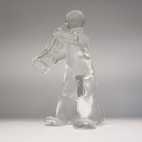 Art Glass Figure of Man Playing Instrument