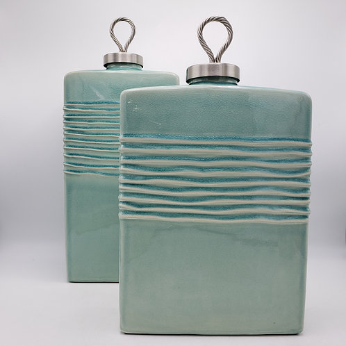 Two Large Oversized Teal Uttermost Porcelain Jars with Lids
